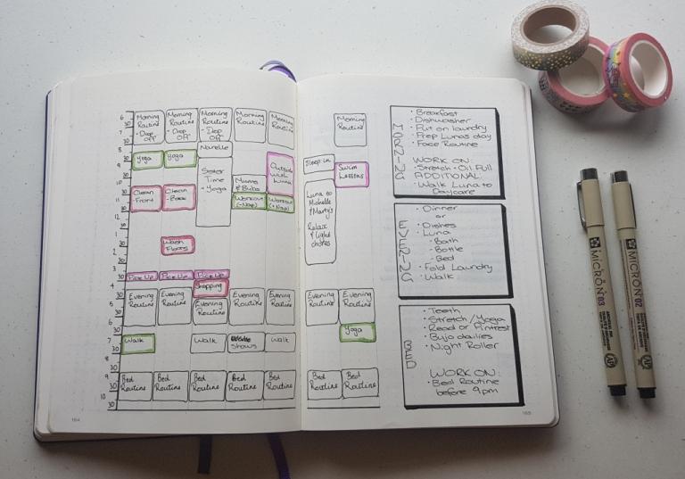 bullet journal block schedule routines