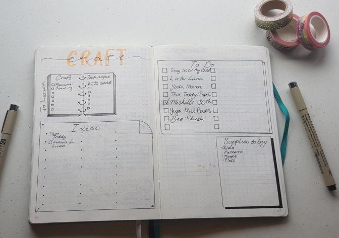 bullet journal craft list